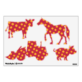 Red and orange circles farm animals and tractor wall sticker