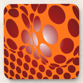 red and orange drink coaster
