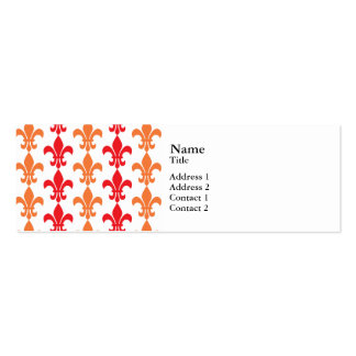 Red and Orange Fleur de Lis Pattern Double-Sided Mini Business Cards (Pack Of 20)