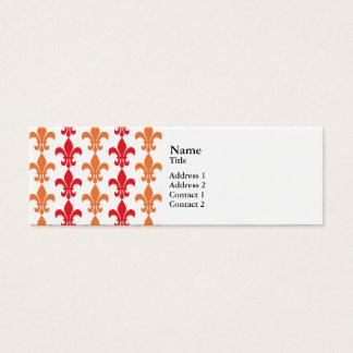 Red and Orange Fleur de Lis Pattern Mini Business Card
