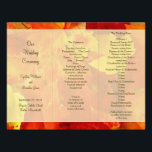 "Red and Orange Folded Fall Ceremony Program<br><div class=""desc"">Brightly colored,  red and orange fall leaves decorate this folded fall wedding ceremony program.  Fold in thirds after purchase.  Fill in three sections of template text and fold accordion style (z-fold).  Text and images are printed on ONE SIDE ONLY.</div>"