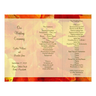 Red and Orange Folded Fall Ceremony Program Letterhead