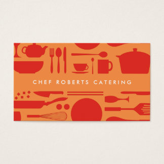 RED AND ORANGE KITCHEN COLLAGE BUSINESS CARD