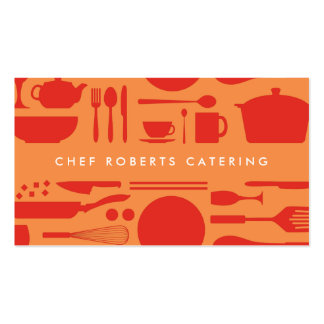 RED AND ORANGE KITCHEN COLLAGE Double-Sided STANDARD BUSINESS CARDS (Pack OF 100)
