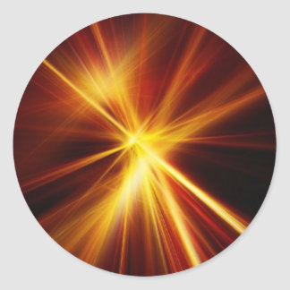 Red and Orange Laser Starburst Classic Round Sticker