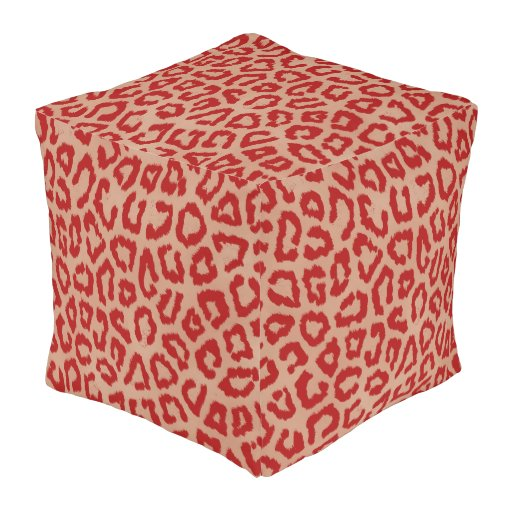 Red and Orange Leopard Outdoor Pouf | Zazzle