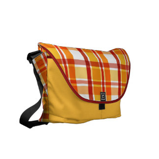 Red and orange plaid pattern messenger bags