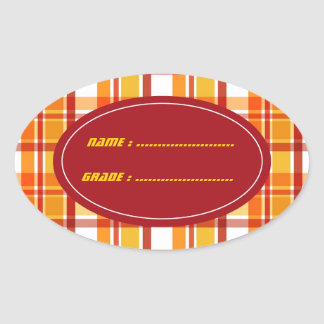 Red and orange plaid pattern oval sticker