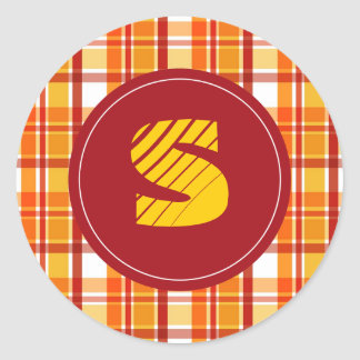 "Red and orange plaid with ""S"" monogram Classic Round Sticker"
