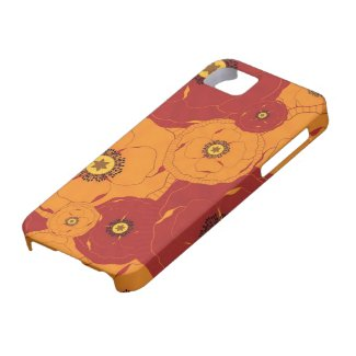Red and Orange Poppy Field Patterned iPhone 5 Cover