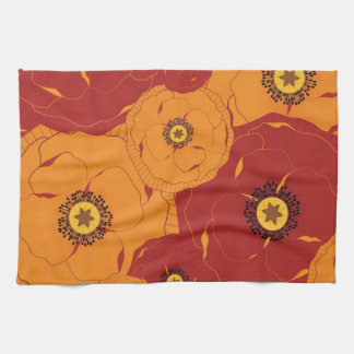 Red and Orange Poppy Field Patterned Hand Towel