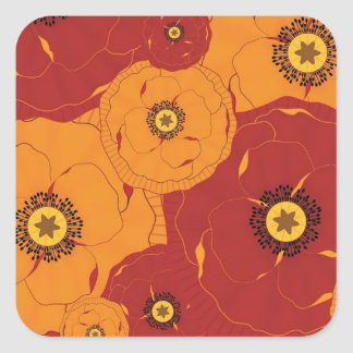 Red and Orange Poppy Field Patterned Square Sticker