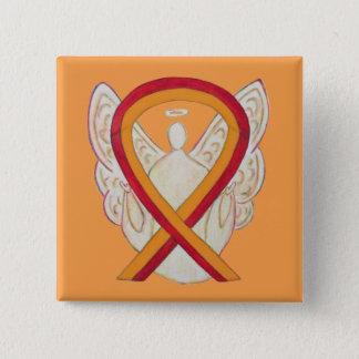Red and Orange Ribbon Awareness Angel Pin