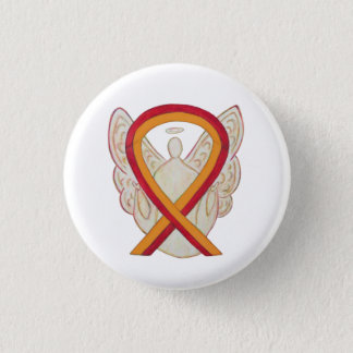 Red and Orange Ribbon Awareness Angel Pins