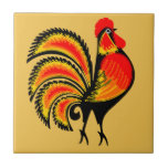 """Red and Orange Rooster Tile<br><div class=""""desc"""">Vintage illustration.</div>"""
