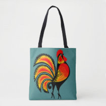 Red and Orange Rooster Tote Bag