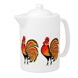 Red and Orange Roosters Teapot