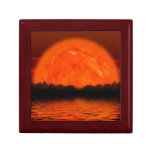Red and Orange Sky with Water Reflecting Keepsake Box