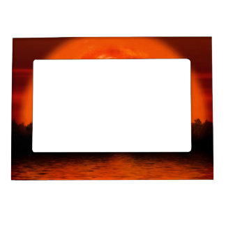 Red and Orange Sky with Water Reflecting Magnetic Photo Frame