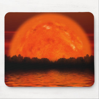 Red and Orange Sky with Water Reflecting Mouse Pad