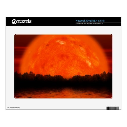 Red and Orange Sky with Water Reflecting Small Netbook Decal