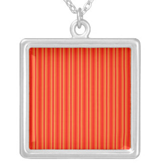Red and Orange Stripey Hippie Pattern Silver Plated Necklace