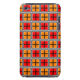 Red and Orange Tiled  Square and Cross Pattern iPod Case-Mate Cases