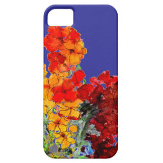 Red and Orange Watercolor Wallflowers on Blue iPhone SE/5/5s Case