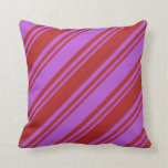 [ Thumbnail: Red and Orchid Colored Lined/Striped Pattern Throw Pillow ]