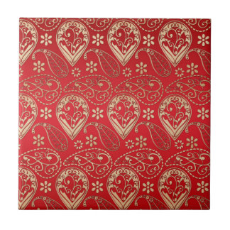 Red And Pale Gold Paisley Tile