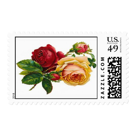 RED AND PEACH ROSES POSTAGE
