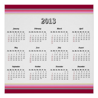 Red and Pink 2013 Calendar Poster