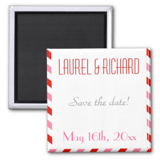 Red and Pink Air Mail Wedding Magnets
