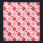 """Red and Pink Argyle Paw Print &amp; Heart Pattern Bandana<br><div class=""""desc"""">Show off your love of animals with this adorable paw print themed bandana. This product displays a red and pink argyle paw print &amp; heart pattern. Maybe you&#39;re searching for a special gift for an animal lover in your life? This bandana would be a cute gift for cat owners, dog...</div>"""