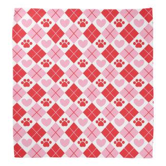 Red and Pink Argyle Paw Print & Heart Pattern Bandana