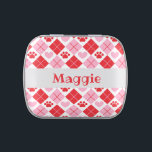 """Red and Pink Argyle Paw Print &amp; Heart Pattern Candy Tin<br><div class=""""desc"""">Show off your love of animals with this adorable paw print themed candy tin. This product displays a red and pink argyle paw print &amp; heart pattern. Maybe you&#39;re searching for a special gift for an animal lover in your life? This candy tin would be a cute gift for cat...</div>"""