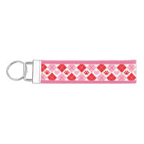 Red and Pink Argyle Paw Print & Heart Pattern Wrist Keychain