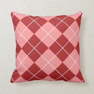 Red and Pink Argyle Throw Pillow