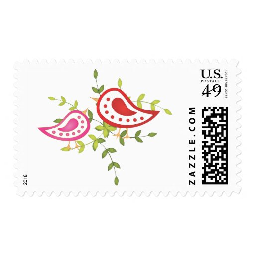 Red and Pink Birds Postage Stamps