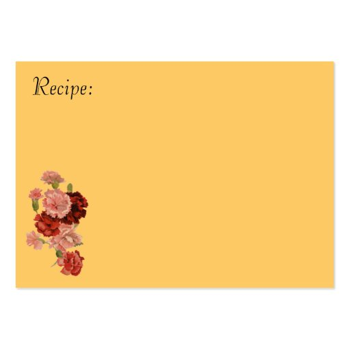 Red and Pink Carnation Recipe Card Business Card Template