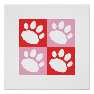 Red and Pink Checkerboard Paw Print