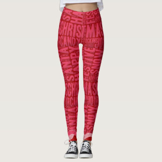Red and Pink Christmas Word Art and Swirls Leggings
