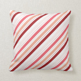 Red and Pink Diagonal Stripes Valentine's Day Gift Throw Pillow