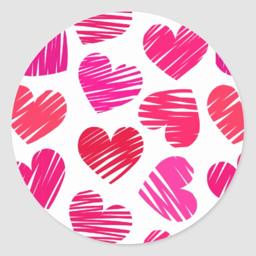 Red and pink doodled Love hearts Classic Round Sticker