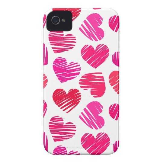 Red and pink doodled Love hearts iPhone 4 Case