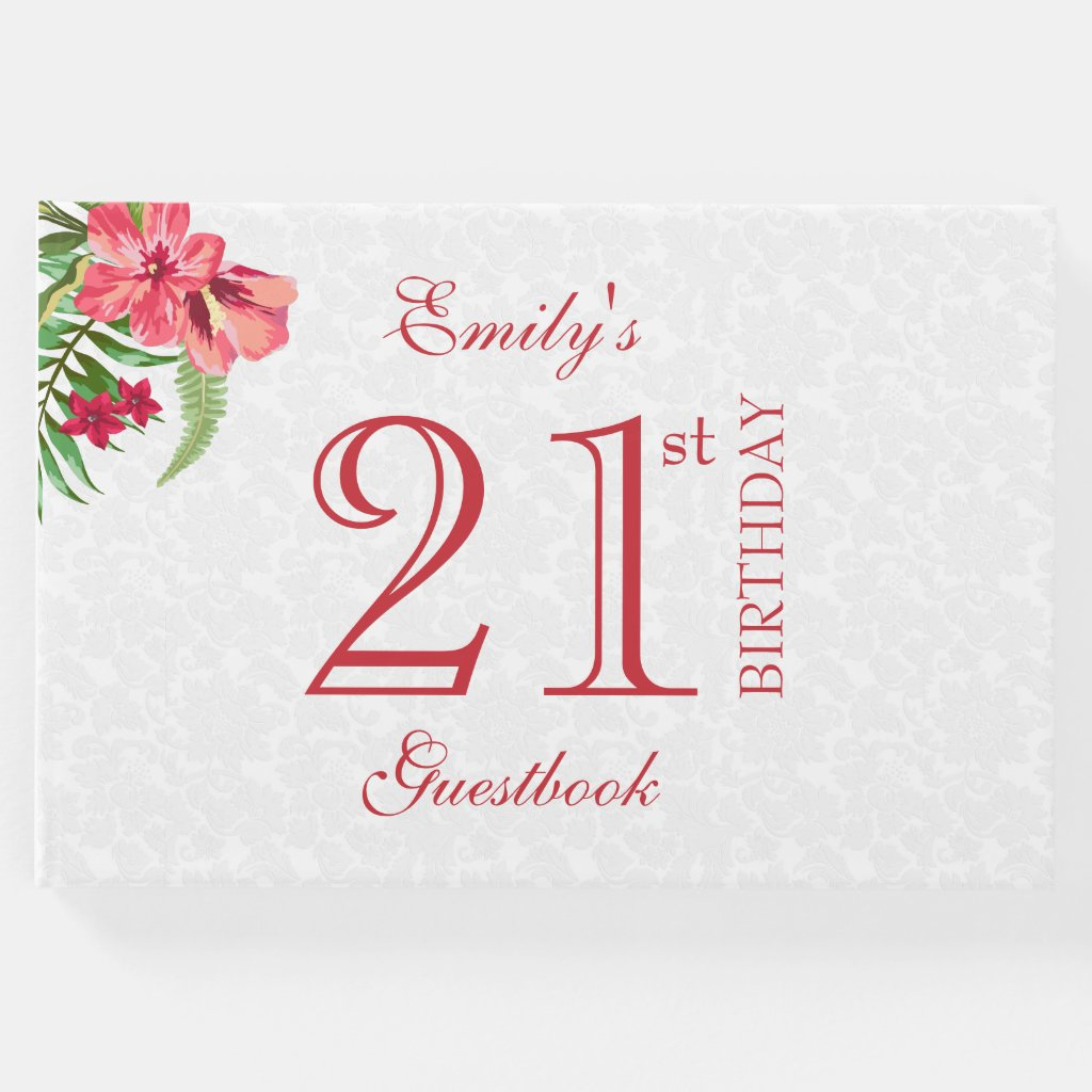 Red And Pink Exotic Flowers And White Damask