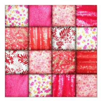 Red and Pink Faux Patchwork Quilting Pattern Card