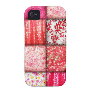 Red and Pink Faux Patchwork Quilting Pattern iPhone 4 Cases