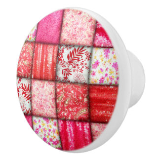 Red and Pink Faux Patchwork Quilting Pattern Ceramic Knob