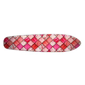 Red and Pink Faux Patchwork Quilting Pattern Skateboard Deck
